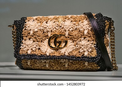Moscow, Russia - July, 2019: Fashion Week Gucci shopping. Luxury Shoulder Bag GG Marmont Pre Fall 2019 In Store Gucci In Moscow.
