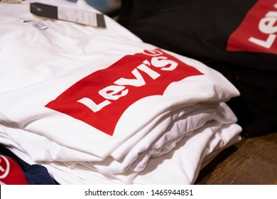 Moscow, Russia - July 2019: The Levis Levi Jeans Store. Levi Strauss Founded In 1853, Is An American Clothing Company Known Worldwide For It's Levi Strauss Brand Of Denim Jeans.