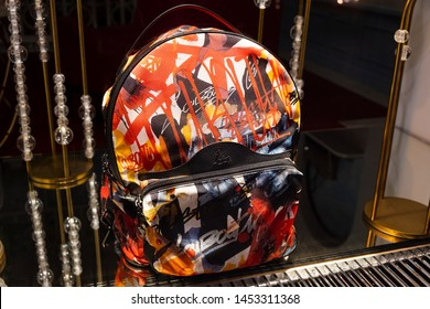 Moscow, Russia - July 2019: Showcase At Louboutin Store, Backpack. Exhibition New Collection Fall 2019 In Luxury Boutique In Louboutin.