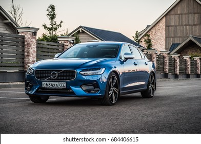 MOSCOW, RUSSIA - JULY 21, 2017 VOLVO S90 R-DESIGN T6, front-side view. Test of new swedish car - Volvo S90 sedan. This car is AWD sedan with business-class saloon and T6 engine. R-Design.