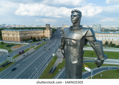 Moscow, Russia - July 22, 2019: aerial view of Yuri Gagarin monument on Gagarin Square on a sunny summer day