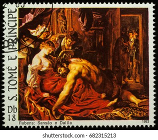"Moscow, Russia - July 23, 2017: A stamp printed in Sao Tome and Principe shows painting Samson and Delilah by Rubens, series ""Easter - paintings"", circa 1983"