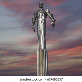 MOSCOW, RUSSIA- JULY 23, 2017: Monument to Yuri Gagarin (42.5-meter high pedestal and statue), the first person to travel in space. It is located at Leninsky Prospekt in Moscow, Russia.