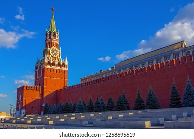 MOSCOW, RUSSIA - JULY, 25, 2014: View of the Moscow Kremlin and Lenin's Mausoleum, Russia