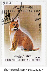 MOSCOW, RUSSIA - JULY 25, 2019: Postage stamp printed in Afghanistan shows Eurasian Lynx (Lynx lynx), Animals serie, circa 1989