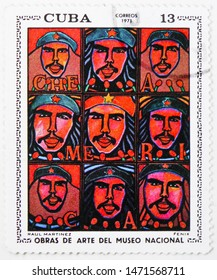 MOSCOW, RUSSIA - JULY 25, 2019: Postage stamp printed in Cuba shows Fenix, Raul Martinez, Paintings from the National Museum (1971) serie, circa 1971