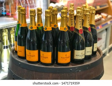 MOSCOW, RUSSIA - JULY 25, 2019: Veuve Clicquot Brut Champagne and Moët & Chandon Imperial Champagne Bottle on Display at a METRO Cash and Carry Store. Product of France.