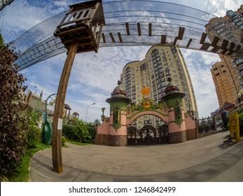 MOSCOW, RUSSIA - JULY 26, 2018: Entrance gate to children's amusement park Lukomorye with extreme rope ladder way and safety net in Moscow, Russia on July 26, 2018.