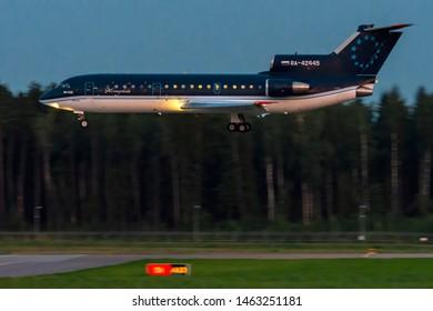 Moscow, Russia - July 26 2019: plane Yak-42 of Sirius aero airlines in Vnukovo international airport.