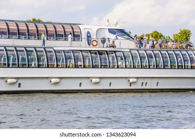 """MOSCOW, RUSSIA - July 27, 2016: Super-yacht """"Butterfly"""" of the flotilla of the hotel """"Radisson Royal"""" on the Moscow river. Fragment"""