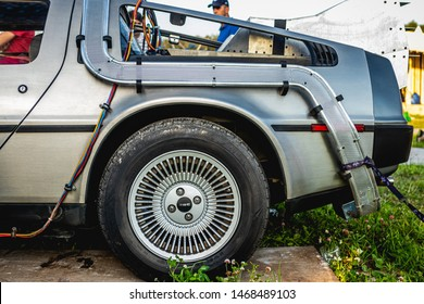 MOSCOW, RUSSIA - JULY 27, 2019: A futuristic design early for its time, the DeLorean starred in the film Back to the Future and remains popular with classic car enthusiasts.