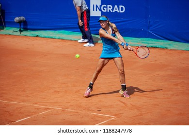 Moscow, Russia — July 28, 2018: Johanna Larsson is a sweden professional tennis player on the wta Moscow River Cup.