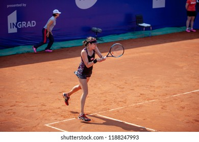 Moscow, Russia — July 28, 2018: Galina Voskoboeva is a kazakh professional tennis player on the wta Moscow River Cup.