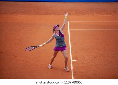 Moscow, Russia — July 28, 2018: Tamara Zidansek is a Slovenian professional tennis player on the wta Moscow River Cup.