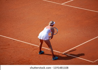 Moscow, Russia — July 28, 2018: Anastasia Potapova is a russian professional tennis player on the wta Moscow River Cup.