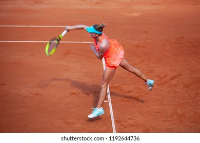 Moscow, Russia — July 28, 2018: Aliaksandra Sasnovich is a belarusian professional tennis player on the wta Moscow River Cup.