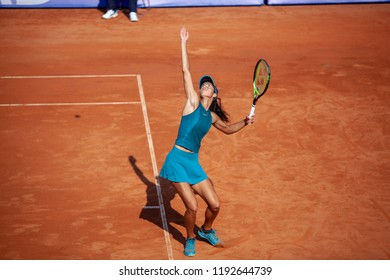 Moscow, Russia — July 28, 2018: Olga Danilovic is a serbian professional tennis player on the wta Moscow River Cup.
