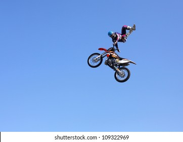 MOSCOW, RUSSIA - JULY 28 : Luzhniki, Massimo Bianconcini performs motorcycle stunt trick at Freestyle Motocross session during Moscow City Games on July 28, 2012 in Moscow.