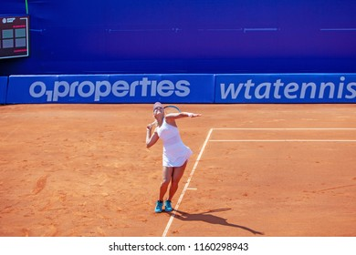 Moscow, Russia — July 29, 2018: Anastasia Potapova is a russian professional tennis player on the wta Moscow River Cup. The serve.