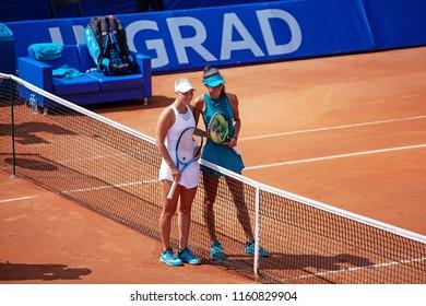 Moscow, Russia — July 29, 2018: Olga Danilovic and Anastasia Potapova on the wta Moscow River Cup.