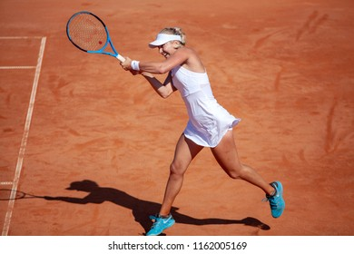 Moscow, Russia — July 29, 2018: Anastasia Potapova is a russian professional tennis player on the wta Moscow River Cup.