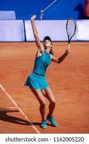 Moscow, Russia — July 29, 2018: Olga Danilovic is a serbian professional tennis player on the wta Moscow River Cup.