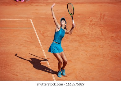 Moscow, Russia — July 29, 2018: Olga Danilovic is a serbian professional tennis player on the wta Moscow River Cup. The Serve.