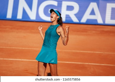 Moscow, Russia — July 29, 2018: Olga Danilovic is a serbian professional tennis player on the wta Moscow River Cup. The reaction to the victory in the final against Anastasia Potapova.