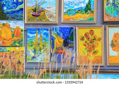 Moscow, Russia - July 30, 2018: Fragment of paintings on exhibition by contemporary artists near New Tretyakov Gallery in Moscow