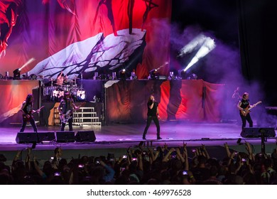 """MOSCOW, RUSSIA - JULY 30: Russian Heavy Metal band """"Aria"""" performs at the """"Ariafest"""" on July 30, 2016 in Green Theatre, Gorky Park, Moscow, Russia. Aria is most popular Russian rock band."""