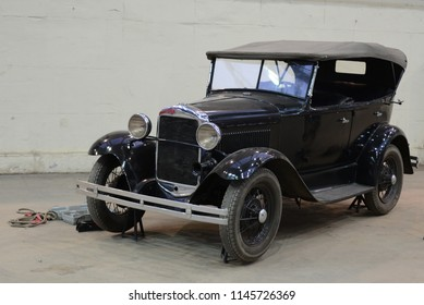MOSCOW, RUSSIA - JULY 31, 2014: GAZ-A USSR 1930s car based on Ford Model A. Soviet Russian old cars exhibition on VDHKh.
