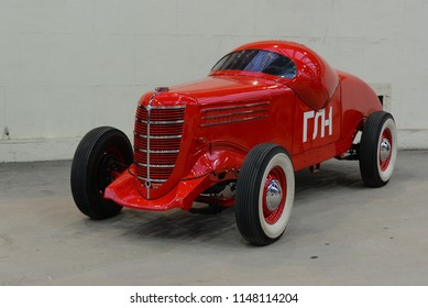 MOSCOW, RUSSIA - JULY 31, 2014: GAZ GL-1 made in USSR 1930s racing car. Soviet Russian old cars exhibition on VDHKh.