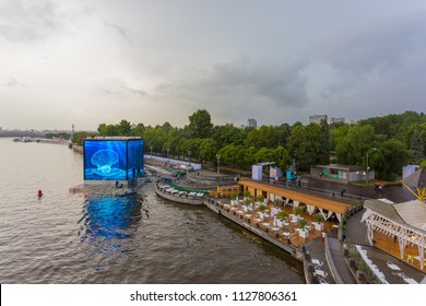 MOSCOW, RUSSIA - JULY 4, 2018: View from Andreevsky bridge to Go