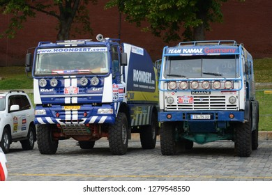 MOSCOW, RUSSIA - JULY 5, 2013: Silk Way rally raid KAMAZ and DAF racing tracks before start at the Moscow Red Square. Silk Way Rally is an annual rally raid type of off-road race.