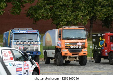 MOSCOW, RUSSIA - JULY 5, 2013: Silk Way rally raid KAMAZ and DAF tracks before start at the Moscow Red Square. Silk Way Rally is an annual rally raid type of off-road race.