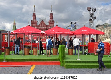 MOSCOW, RUSSIA - JULY 5, 2018: 2018 FIFA World Cup Russia Football Park opened on Red Square in Moscow. It is cloudy