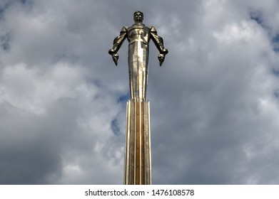 Moscow, Russia - July 6, 2019: Yuri Gagarin monument on Gagarin Square in Moscow Russia.
