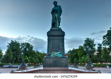 Moscow, Russia - July 6, 2019: Monument to Russian poet Alexander S. Pushkin on Pushkin Square. Originally installed in Moscow on 6 June 1880.