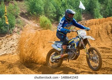 MOSCOW, RUSSIA - JULY 6, 2019: Tsudenov Nikolay 215,  class MOTO, in the Vel'yaminovo Race Weekend 2019, Motopark Velyaminovo, Istrinsky district
