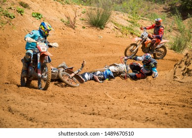 MOSCOW, RUSSIA - JULY 6, 2019: Motorcyclist fall,  class MOTO, in the Vel'yaminovo Race Weekend 2019, Motopark Velyaminovo, Istrinsky district