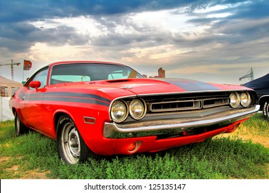 MOSCOW, RUSSIA - JULY 6: American muscle car Dodge Challenger exhibited at the annual International Motor show Autoexotica on July 6, 2012 in Moscow, Russia.