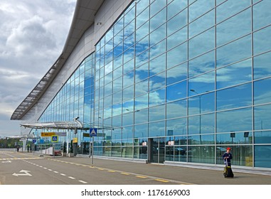 MOSCOW, RUSSIA - JULY 7, 2018: Sheremetyevo International Airport, Terminal D. Young traveler