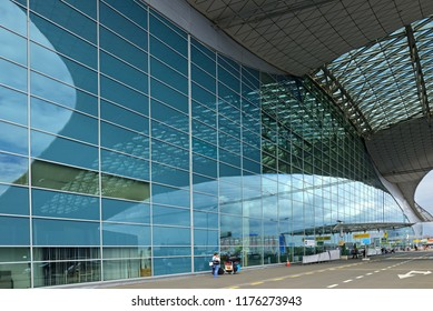 MOSCOW, RUSSIA - JULY 7, 2018: Sheremetyevo International Airport, Terminal D. Terminal Building