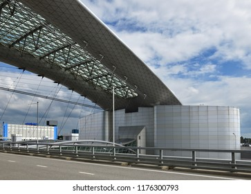 MOSCOW, RUSSIA - JULY 7, 2018: Sheremetyevo International Airport, Terminal D. Metal constructions