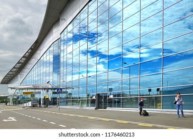 MOSCOW, RUSSIA - JULY 7, 2018: Sheremetyevo International Airport, Terminal D. Travelers before flight