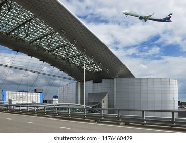 MOSCOW, RUSSIA - JULY 7, 2018: Sheremetyevo International Airport, Terminal D. Aircraft