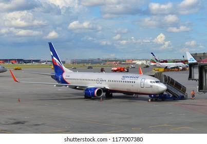 "MOSCOW, RUSSIA - JULY 7, 2018: Sheremetyevo International Airport, Terminal D. Aeroflot's Boeing 737-800NG ""A. Solzhenitsyn"""