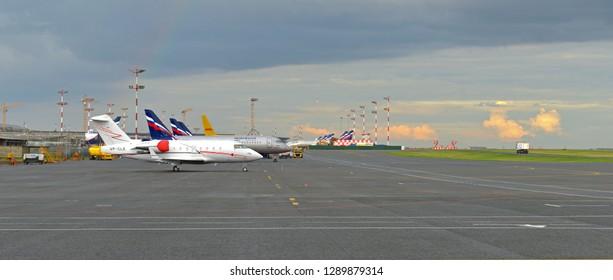 MOSCOW, RUSSIA - JULY 7, 2018: Sheremetyevo International Airport. Aircraft