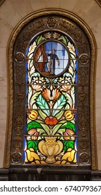 Moscow, Russia - July 8, 2017 - Stained glass panel at Novoslobodskaya metro station in Moscow
