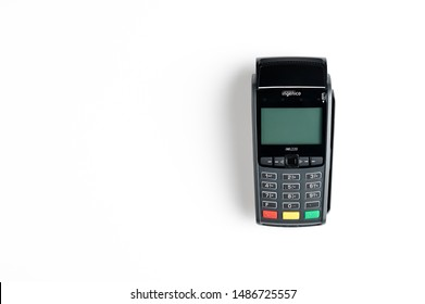 Moscow, Russia - July 8, 2019, wireless credit card payment terminal Ingenico on a white background.